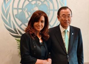Cristina se reunió con Ban Ki-Moon en Nueva York. Argentina preside desde este mes el Consejo de Seguridad de la ONU.