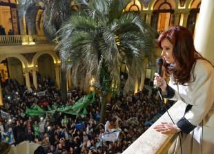 Cristina con la militancia en casa Rosada.