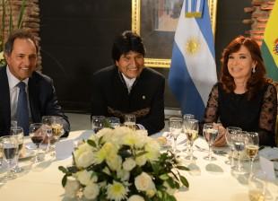 Cristina Kirchner, Evo Morales y Daniel Scioli